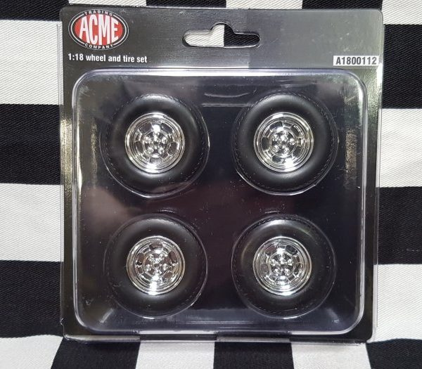 C10 1:18th Chrome Mag Wheel & Tyre Set