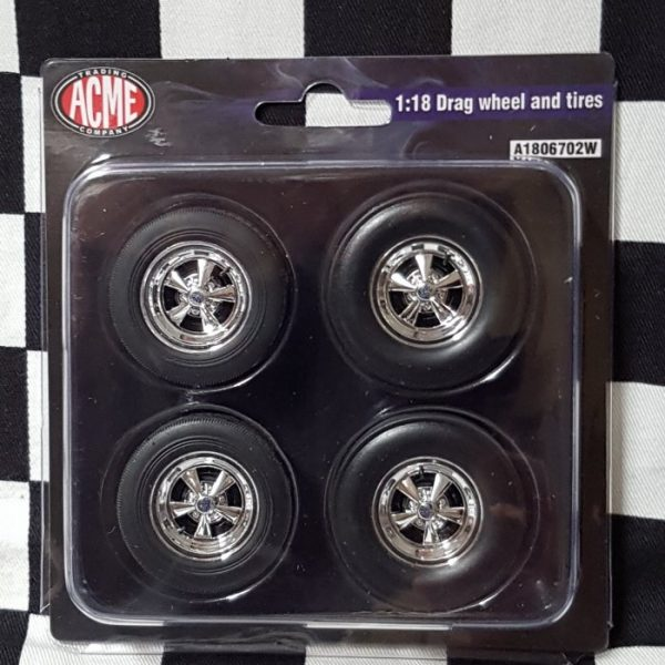 5 Spoke Cragar Chrome 1:18th Drag Wheel & Tyre Set