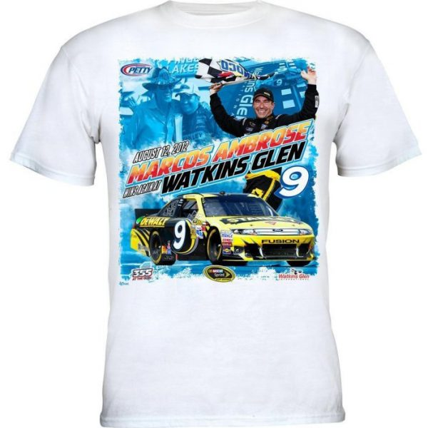 2012 Marcos Ambrose #9 Finger Lakes 355 at the Glen Race Win White T-Shirt