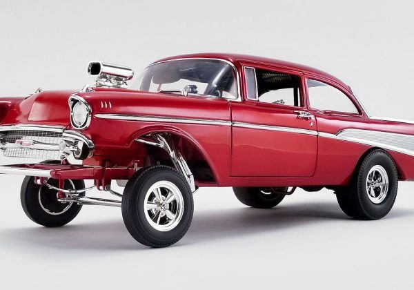 A1807008 – Rat Fink's 1:18th 1957 Candy Red Chevrolet Bel Air Gasser